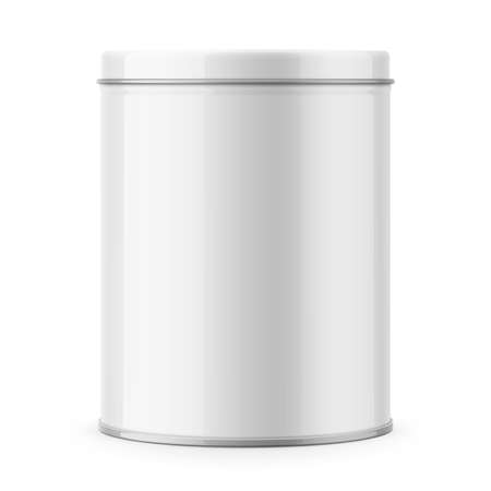 Round glossy tin can template. Stock Illustratie