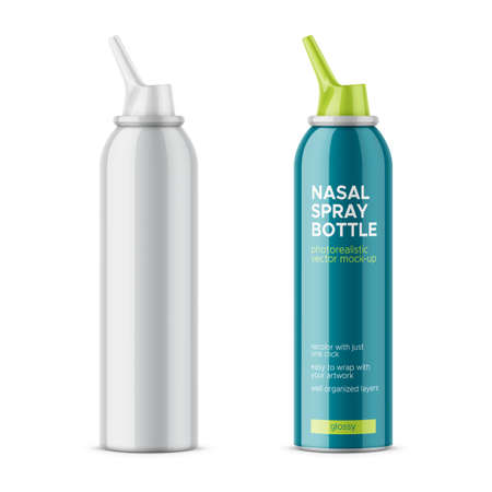 White glossy aluminum bottle with sprayer for nasal spray on white background.