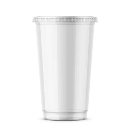 ふた付きの透明な使い捨てのプラスチック カップ。