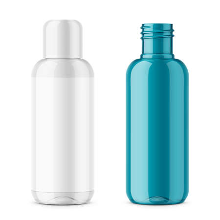 Transparent plastic cosmetic bottle template. Иллюстрация