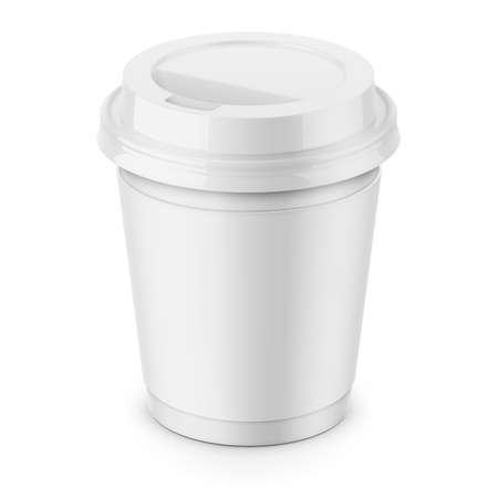 White paper disposable cup.