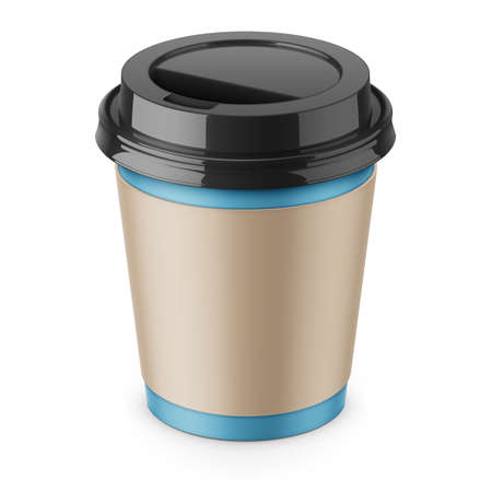 Blue paper disposable cup.