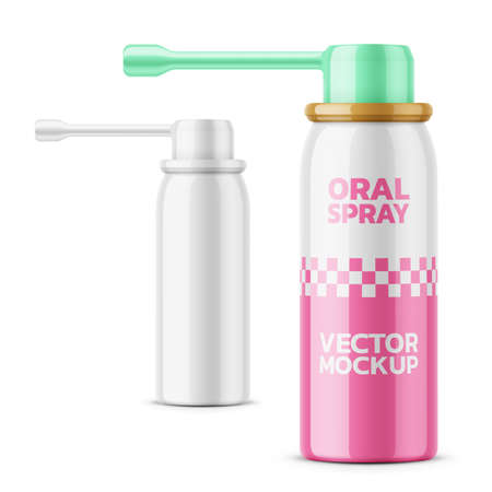 Glossy oral spray bottle template.
