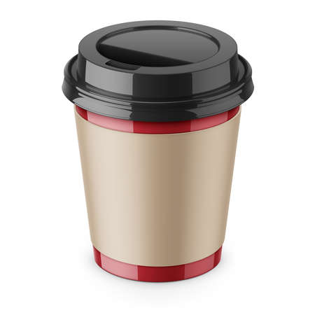 Disposable paper coffee cup with lid and sleeve.