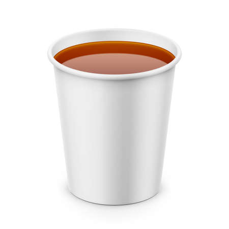 White paper cup with tea template. Illustration