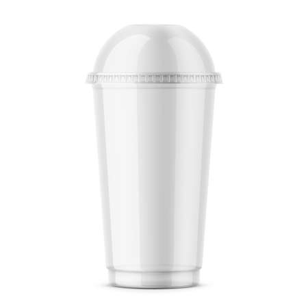 Empty clear plastic disposable cup with dome lid for cold beverage - soda, ice tea or coffee, cocktail, milkshake, juice. 450 ml. Realistic packaging mockup template. Front view. Vector illustration. Ilustração