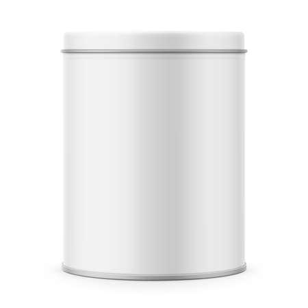 Runde weiße Mattblechdose mit Deckel. Behälter für Trockenprodukte - Tee, Kaffee, Zucker, Getreide, Süßigkeiten, Gewürze. Realistische Verpackungsvektor-Modellschablone. Vorderansicht. Standard-Bild - 89322895