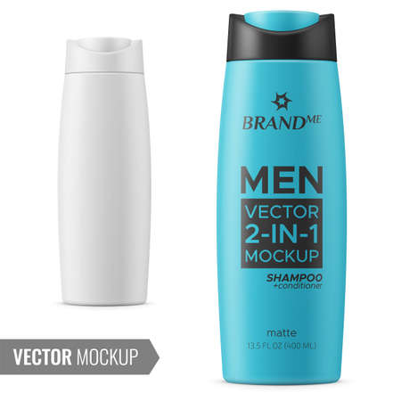 Matte plastic bottle for shampoo, shower gel, lotion, body milk, bath foam. Photo-realistic packaging mockup template with sample design. Front view. Vector 3d illustration.