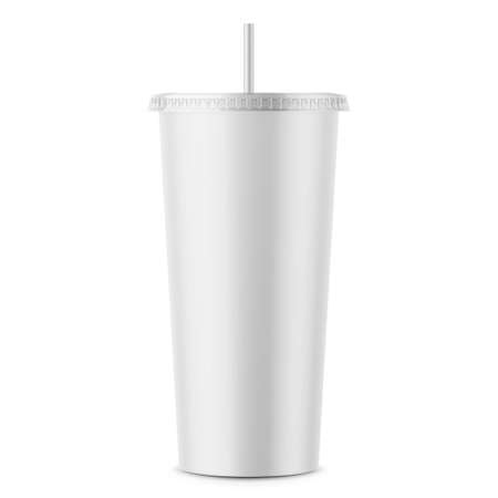 White disposable paper cup with lid and straw. Imagens - 90374156