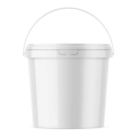 White glossy plastic bucket mockup template.
