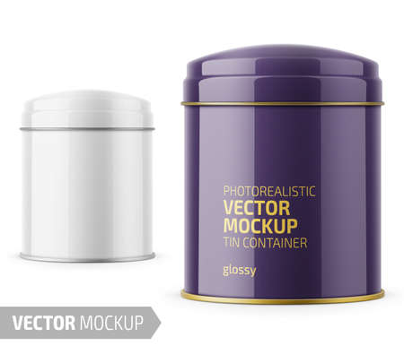 Round glossy tin can template. Illustration