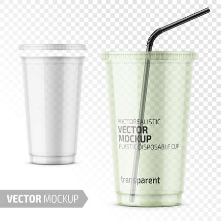Clear disposable plastic cup with lid.