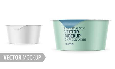 White yogurt pot template. Foto de archivo - 107228300