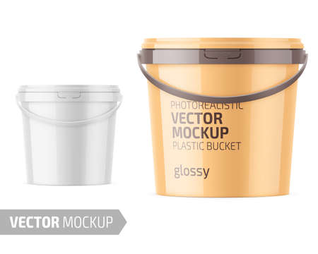 White glossy plastic bucket mockup template.
