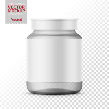 Clear glass medicine bottle template.