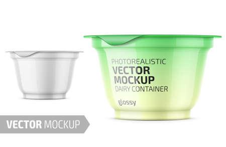 White yogurt pot template.