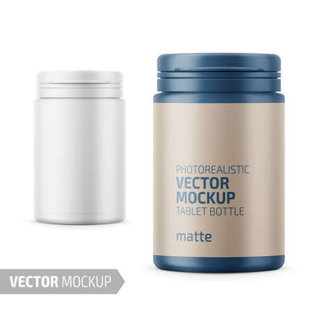 White matte plastic bottle with snap hinge push on cap for medicine, tablets, pills. Photo-realistic packaging mockup template with sample design. Front view. Vector 3d illustration. Ilustração