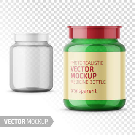 Clear glass medicine bottle with snap lid for tablets, pills, drugs. Photo-realistic packaging mockup template with sample design. Vector 3d illustration.