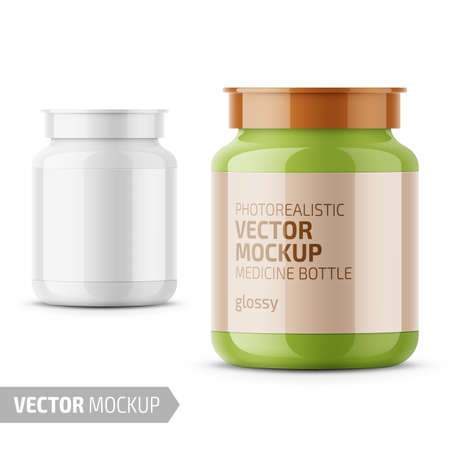 White glossy medicine bottle with snap lid for tablets, pills, drugs. Photo-realistic packaging mockup template with sample design. Front view. Vector 3d illustration.