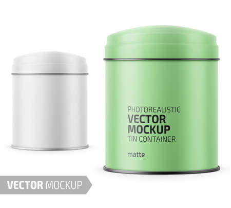 Round white matte tin can with dome lid. Container for dry products - tea, coffee, sugar, candy, spice. Realistic packaging mockup template with sample design. Vector illustration.