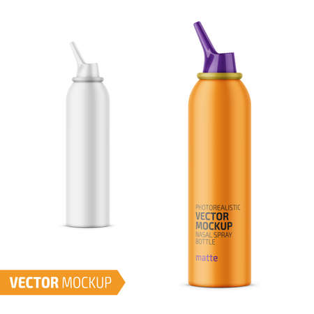 Matte aluminum bottle with sprayer for nasal spray. 125 ml. Photo-realistic packaging mockup template with sample design. Vector illustration.