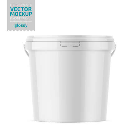 White glossy plastic bucket for food products, paint, household stuff. 900 ml. Realistic packaging mockup template. Handle down backward. Vector illustration.