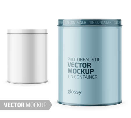 Round white glossy tin can with lid. Container for dry products - tea, coffee, sugar, cereals, candy. Photo-realistic packaging vector mockup template with sample design. Vector 3d illustration.
