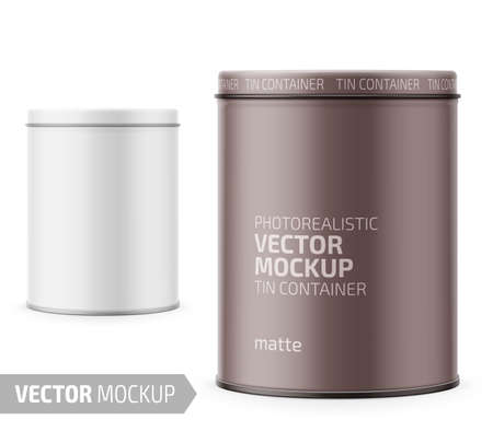 Round white matte tin can with lid. Container for dry products - tea, coffee, sugar, cereals, candy, spice. Photo-realistic packaging vector mockup template with sample design. Vector 3d illustration. Illustration