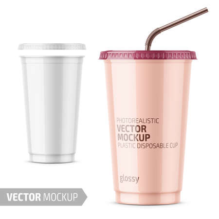White plastic disposable cup with lid for cold beverage - soda, ice tea or coffee, cocktail, milkshake, juice. 450 ml. Realistic packaging mockup template. Vector illustration.