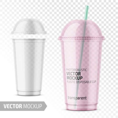 Empty clear plastic disposable cup with dome lid for cold beverage - soda, ice tea or coffee, cocktail, milkshake, juice. 450 ml. Realistic packaging mockup template. Vector illustration.