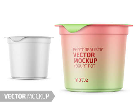 Round white matte plastic pot with foil cover for yogurt, cream, dessert or jam. 125 ml. Photo-realistic packaging mockup template with sample design. Vector 3d illustration. Stockfoto - 111910620