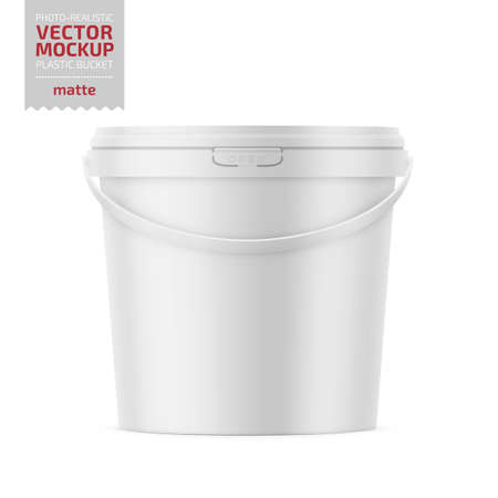 White matte plastic bucket for food products, paint, household stuff. 900 ml. Realistic packaging mockup template. Handle down forward. Vector illustration.
