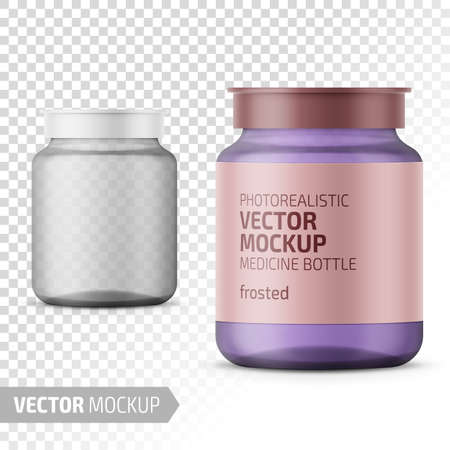 Clear frosted glass medicine bottle with snap lid for tablets, pills, drugs. Photo-realistic packaging mockup template with sample design. Vector 3d illustration.