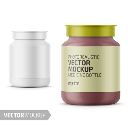 White matte glass medicine bottle with snap lid for tablets, pills, drugs. Photo-realistic packaging mockup template with sample design. Vector 3d illustration.