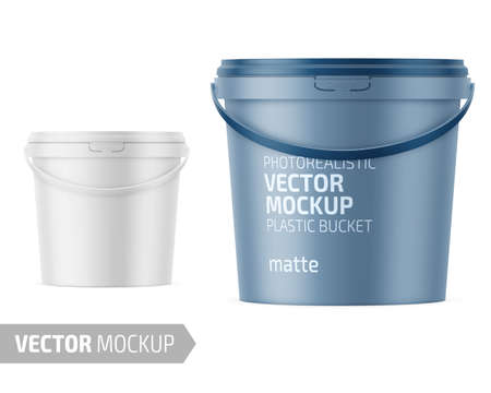 White matte plastic bucket for food products, paint, household stuff. 900 ml. Realistic packaging mockup template with sample design. Handle down forward. Vector illustration.