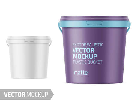 White matte plastic bucket for food products, paint, household stuff. 900 ml. Realistic packaging mockup template with sample design. Handle down backward. Vector illustration.