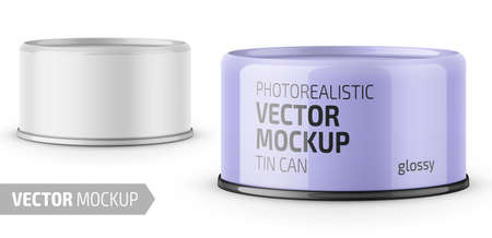 Low-profile glossy tuna can with label on white background. Photo-realistic packaging vector mockup template with sample design. Vector 3d illustration. Standard-Bild - 111910629