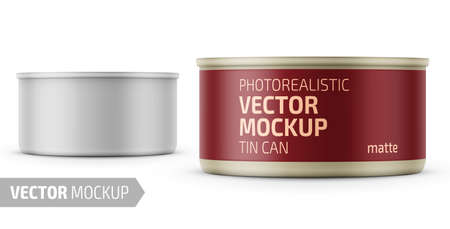 Low-profile matte tuna can with label on white background. Photo-realistic packaging vector mockup template with sample design. Vector 3d illustration.