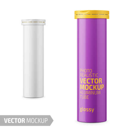 Round white glossy aluminum tube with cap for effervescent or carbon tablets, pills, vitamins. Photo-realistic packaging mockup template with sample design. 3d vector illustration.