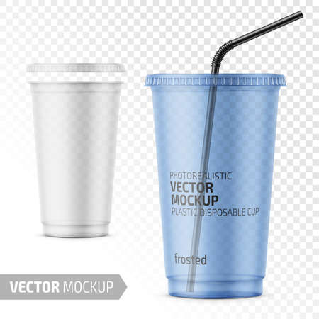 Empty transparent frosted plastic disposable cup with lid for cold beverage - soda, ice tea or coffee, cocktail, milkshake, juice. 450 ml. Realistic packaging mockup template. Vector illustration. Ilustração