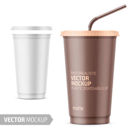 White frosted plastic disposable cup with lid for cold beverage - soda, ice tea or coffee, cocktail, milkshake, juice. 450 ml. Realistic packaging mockup template. Vector illustration.