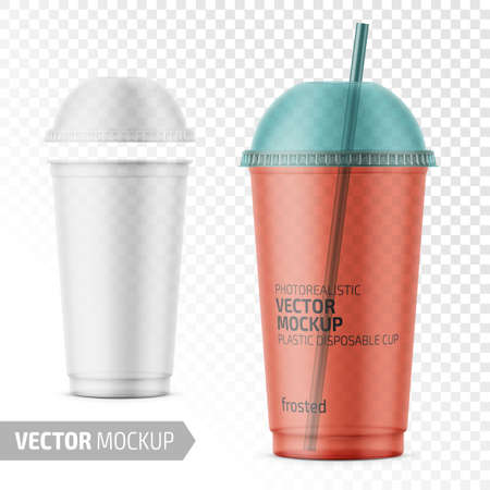 Empty transparent frosted plastic disposable cup with dome lid for cold beverage - soda, ice tea or coffee, cocktail, milkshake, juice. 450 ml. Realistic packaging mockup template. Vector illustration.