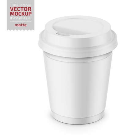White matte disposable cup with paper sleeve and plastic lid for hot beverage coffee, tea, espresso. 250 ml. Photo-realistic packaging mockup template. Vector 3d illustration. Çizim