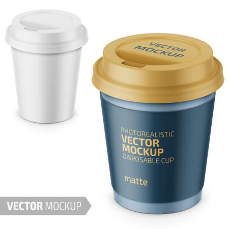 White matte disposable cup with paper sleeve and plastic lid for hot beverage coffee, tea, espresso. 250 ml. Photo-realistic packaging mockup template with sample design. Vector 3d illustration.