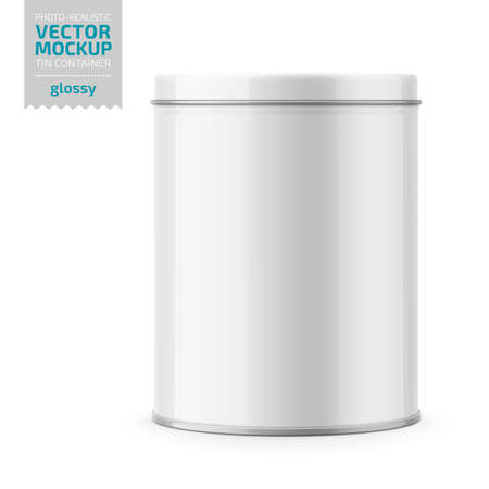 Round white glossy tin can with lid. Container for dry products - tea, coffee, sugar, cereals, candy, spice. Photo-realistic packaging vector mockup template. Vector 3d illustration. Ilustracja