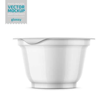 Round white glossy plastic pot with foil cover for yogurt, cream, dessert or jam. 200 ml. Photo-realistic packaging mockup template. Vector illustration.