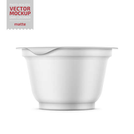 Round white matte plastic pot with foil cover for yogurt, cream, dessert or jam. 200 ml. Photo-realistic packaging mockup template with sample design. Vector illustration.