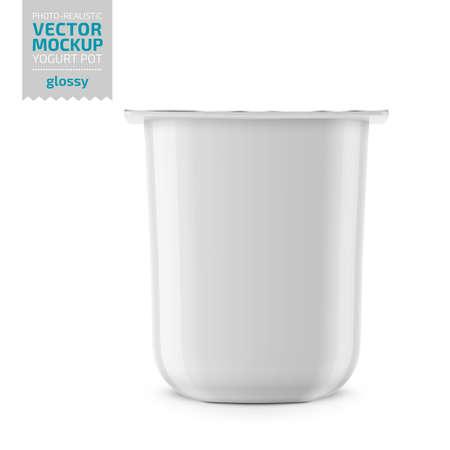 Vaso in plastica bianca lucida con coperchio in lamina per yogurt, panna, dessert o marmellata. Forma quadrata arrotondata. 115 gr. Modello di mockup di imballaggio fotorealistico. Illustrazione vettoriale. Vettoriali
