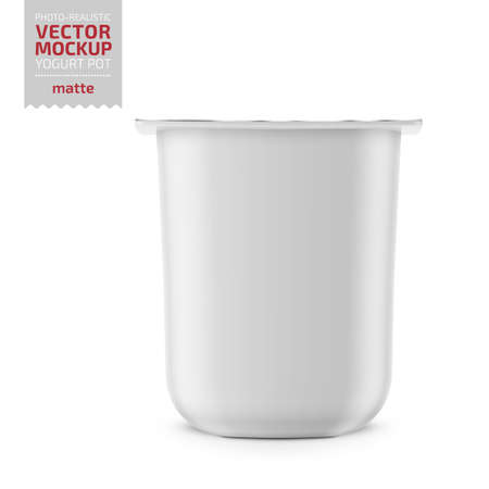 White matte plastic pot with foil cover for yogurt, cream, dessert or jam. Rounded square form. 115 g. Photo-realistic packaging mockup template. Vector illustration. Ilustracja