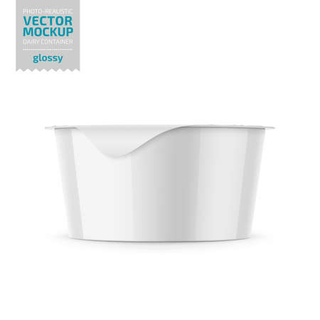 Round white plastic pot with glossy carton wrap and foil cover for dairy products, yogurt, cream, dessert. 130 g. Photo-realistic packaging mockup template. Vector 3d illustration.